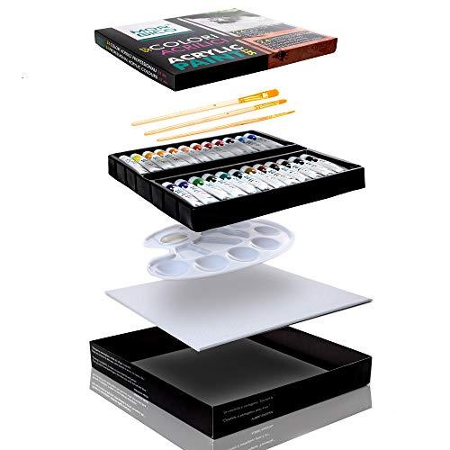 MORGICO Colori Acrilici per Dipingere Set Professionale per Pittori E Hobbisti - Vernici Ricche di Pigmenti Vivaci E Fluidi - Scatola con N.24 Tubetti N.3 Pennelli N.1 Tavolozza N.1 Tela Canvas