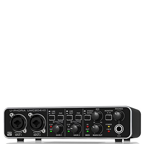 Behringer UMC204HD interfaccia audio 2x4 MIDI/USB a 24bit/192khz preamplificatori MIDAS / phantom +48v