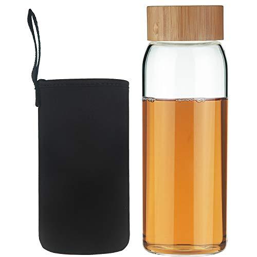 Life4u Bottiglia di Acqua in Vetro Borraccia in Vetro con Custodia in Neoprene Senza BPA 750ml Nero