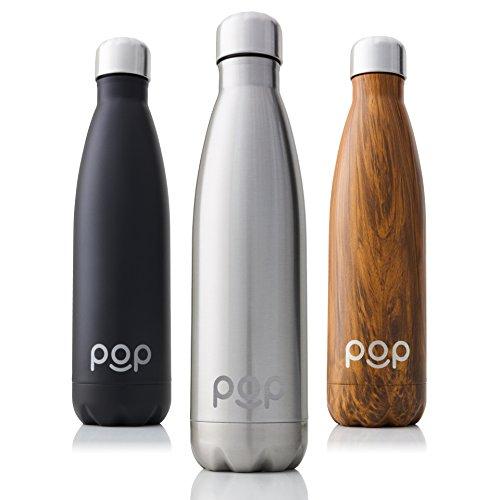 POP Design Bottiglia per Acqua, Mantiene Il Freddo per 24 Ore e Il Caldo per 12 Ore, Acciaio Inox Isolamento a Vuoto, Antigoccia e anticondensa, Collo Stretto e priva di BPA, 740 ml, Titanio