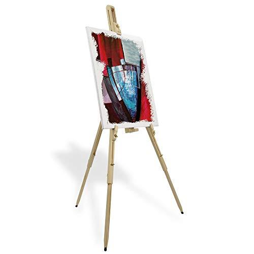 Artina Cavalletto Pittura da Campagna Malaga per artisti pittori Accademia Belle Arti Legno massello di Pino Portatile Stabile e Robusto - Cavalletto per dipingere e disegnare Professionale da Studio