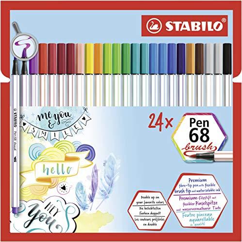 Stabilo Pen 68 Brush Pennarello Premium con Punta a Pennello, Pack da 24, Assortiti