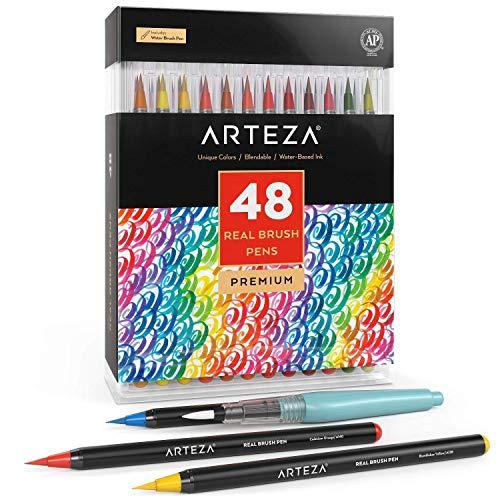 Arteza Pennarelli Acquerello Professionali Brush Pen, Set da 48 Colori Acquerellabili, Punta Flessibile Morbida a Pennello, Per Realizzare Schizzi, Disegni, Pitture e Illustrazioni