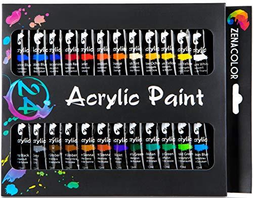 Zenacolor Set da 24 Tubetti di Pittura Acrilica Confezione da 24 x 12mL – Pittura di qualità Superiore e Non Tossica - 24 Colori Unici e Differenti