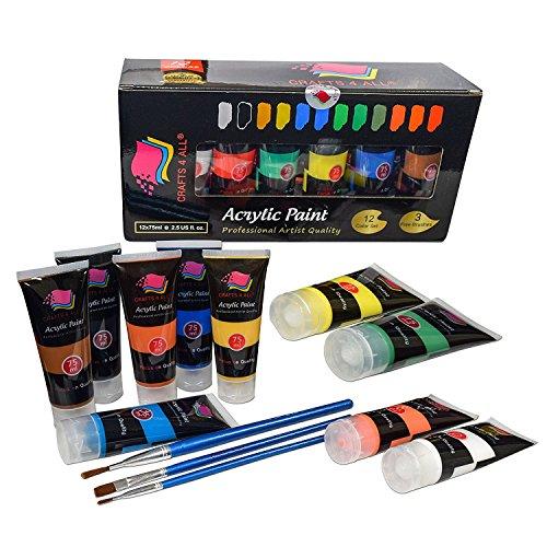 Crafts 4 All - Pittura acrilica professionale, set da colori acrilici XL (75 ml), kit per pittura su tela, legno, argilla, tessuto, unghie, ceramica e artigianato. Per studenti e professionisti
