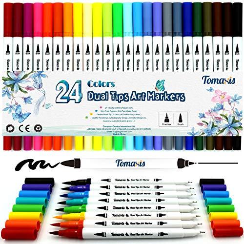 24 pennarelli con doppia punta, con punta fine da 0,4 mm e punta brush, per journal, colorare e disegnare