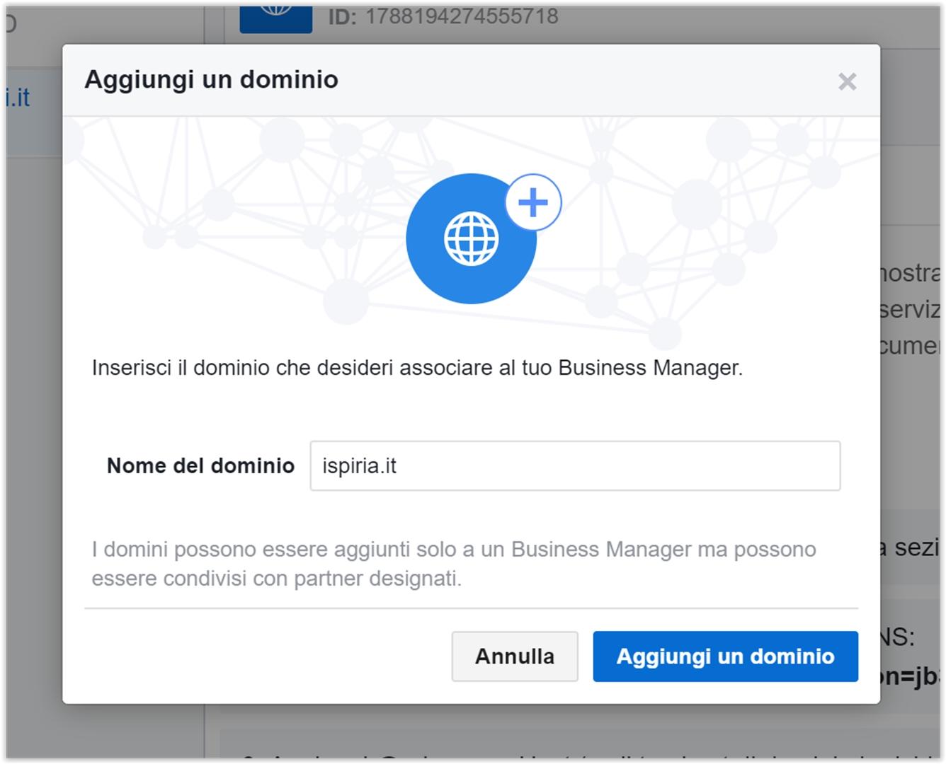 aggiungere dominio verificato su Facebook