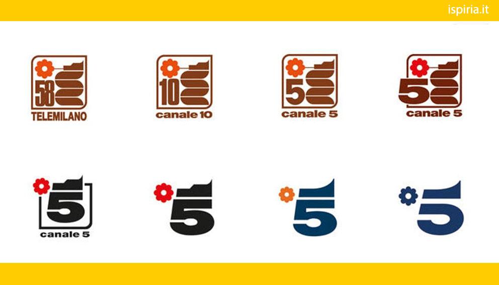 evoluzione del logo di mediaset canale 5