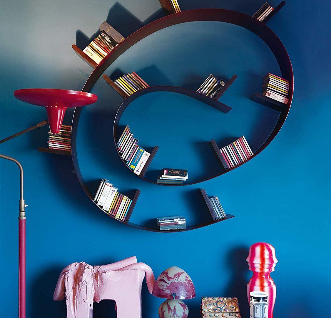 Libreria Design Parete Spirale Metallo